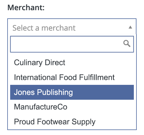Filter orders by merchant.