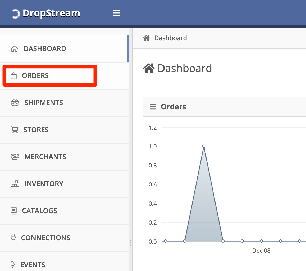 In DropStream Dashboard, click Orders.