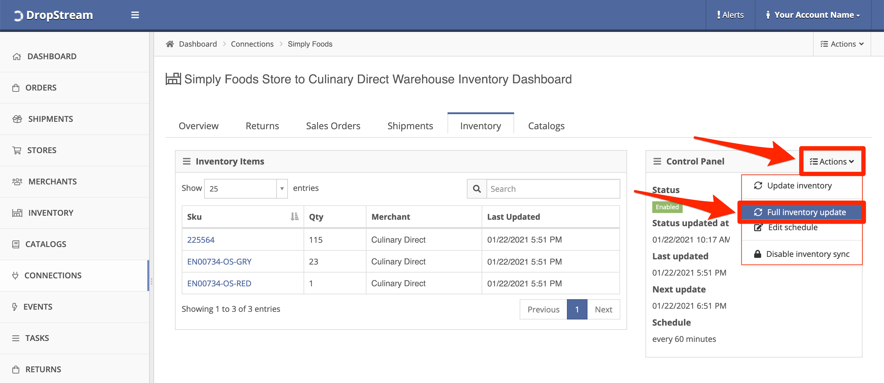 In Control Panel, click Actions, Full inventory update.