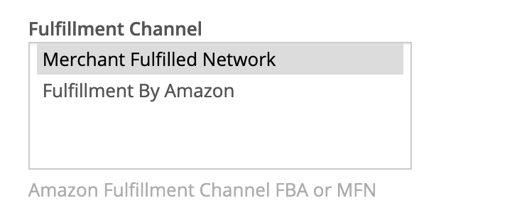 Amazon Marketplace fulfillment channel