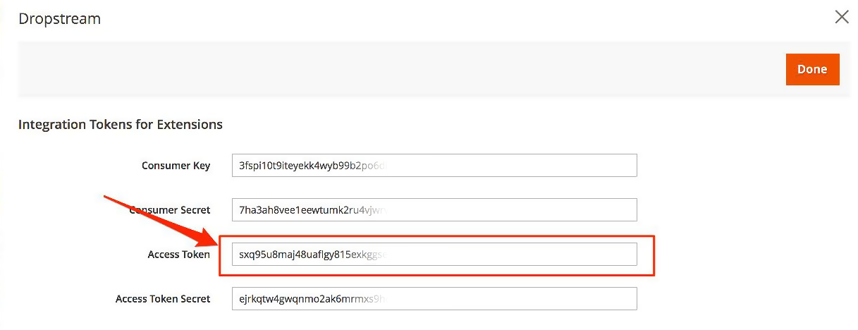 Magento 2: Retain DropStream integration access token.