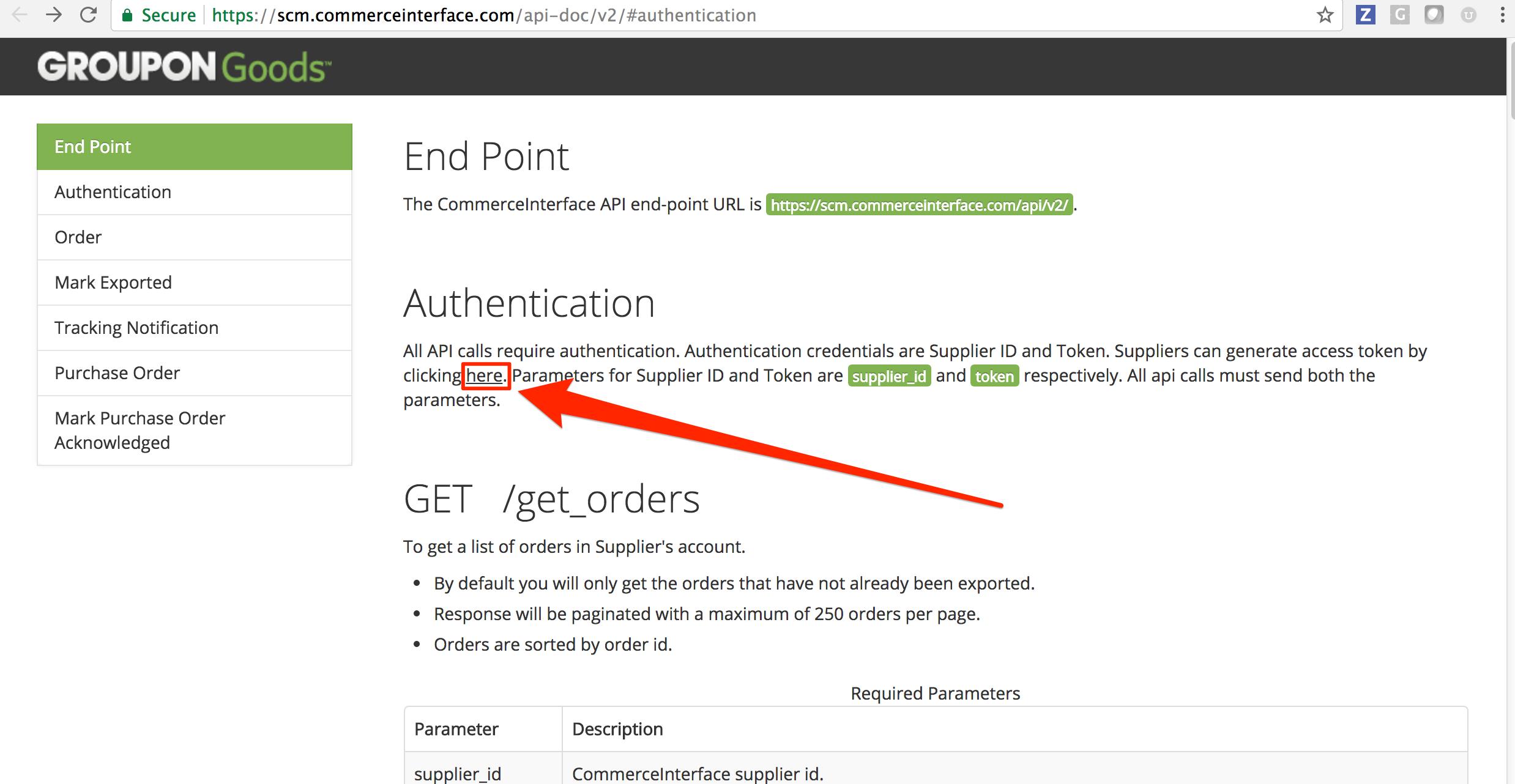 Generate API token in Groupon Goods