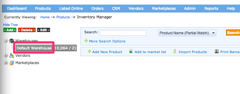 In Solid Commerce admin panel, click Products, Inventory manager.