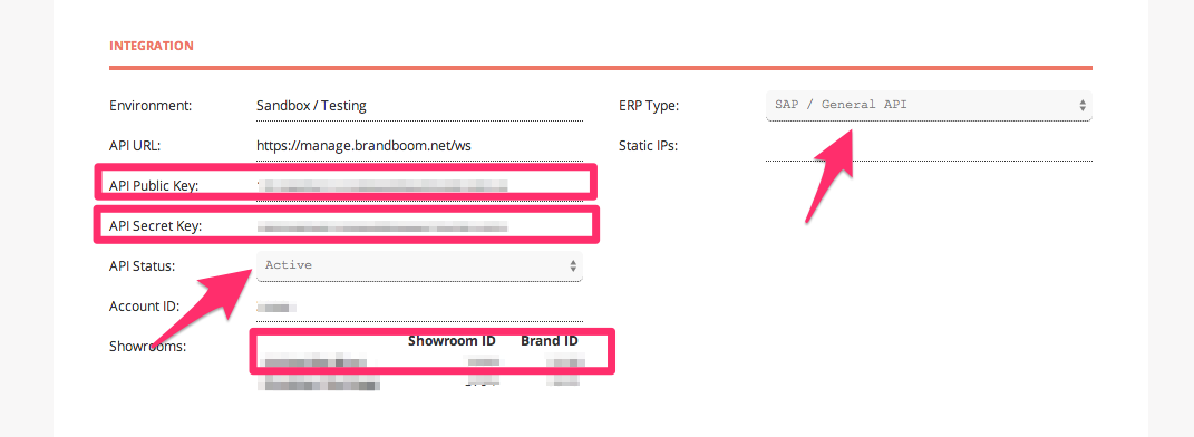 In the Brandboom admin panel, retain the required credentials.
