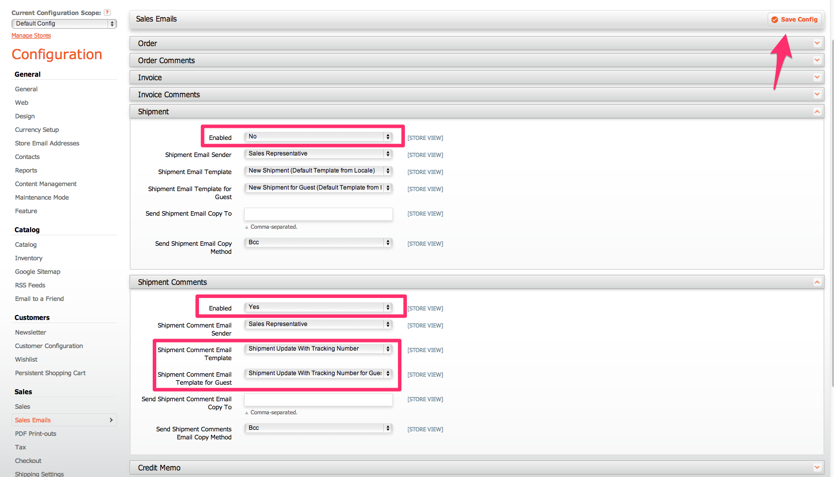 Configure the template, and click Save Config.