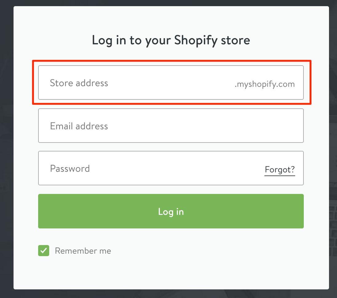 Shopify store address