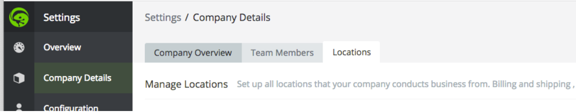 In TradeGecko, go to Settings, Company Details, Locations.
