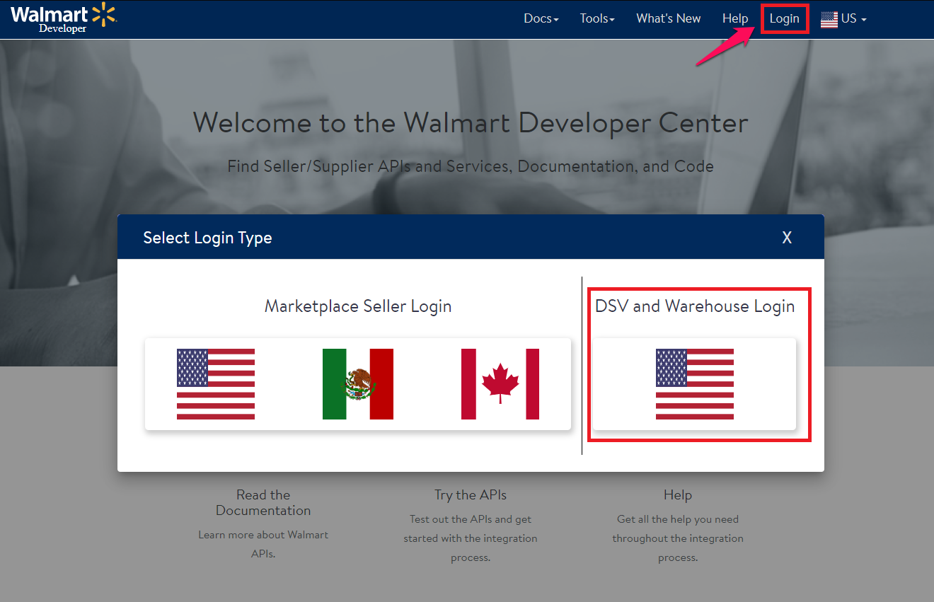 Walmart Developer Portal login