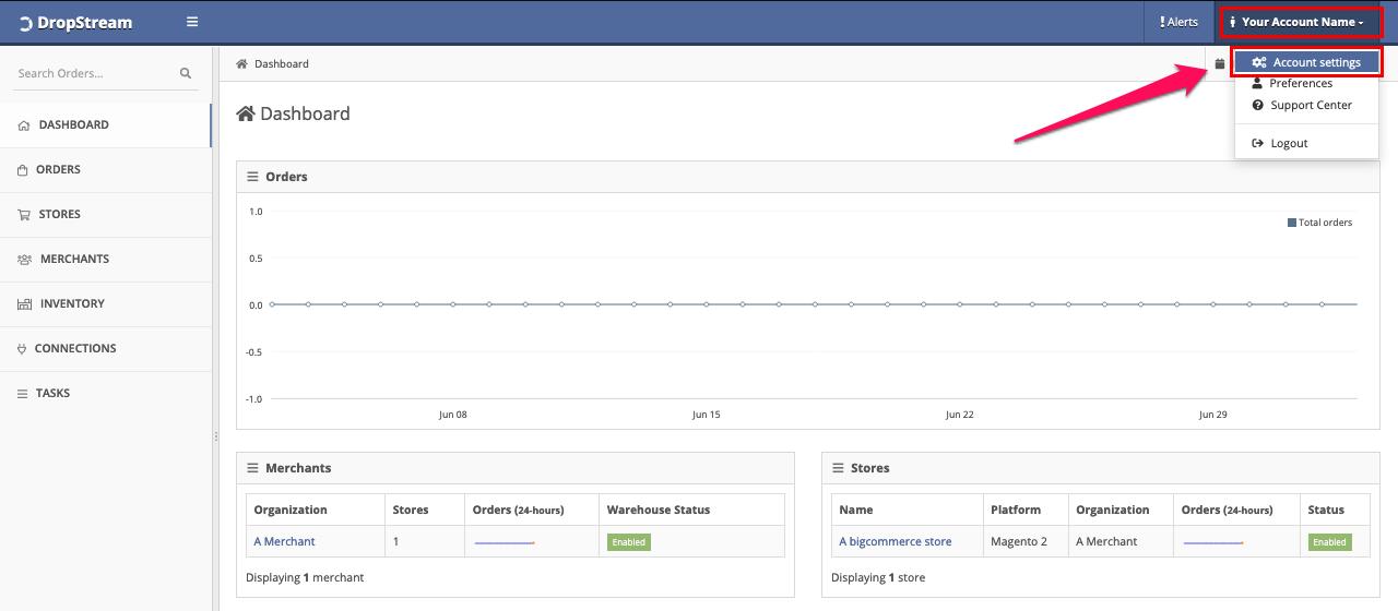 DropStream - Account settings