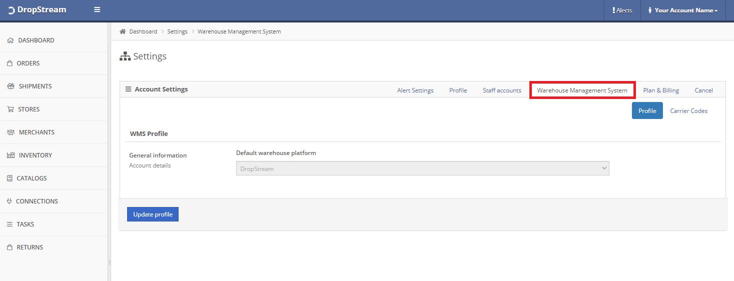 DropStream - Account WMS settings