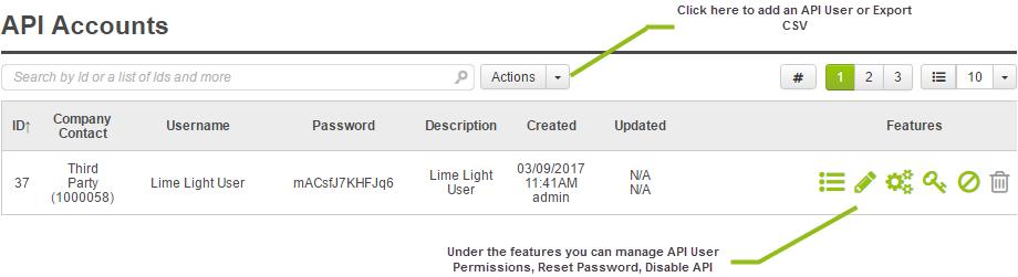 Admin Settings, API Accounts, Add API User.