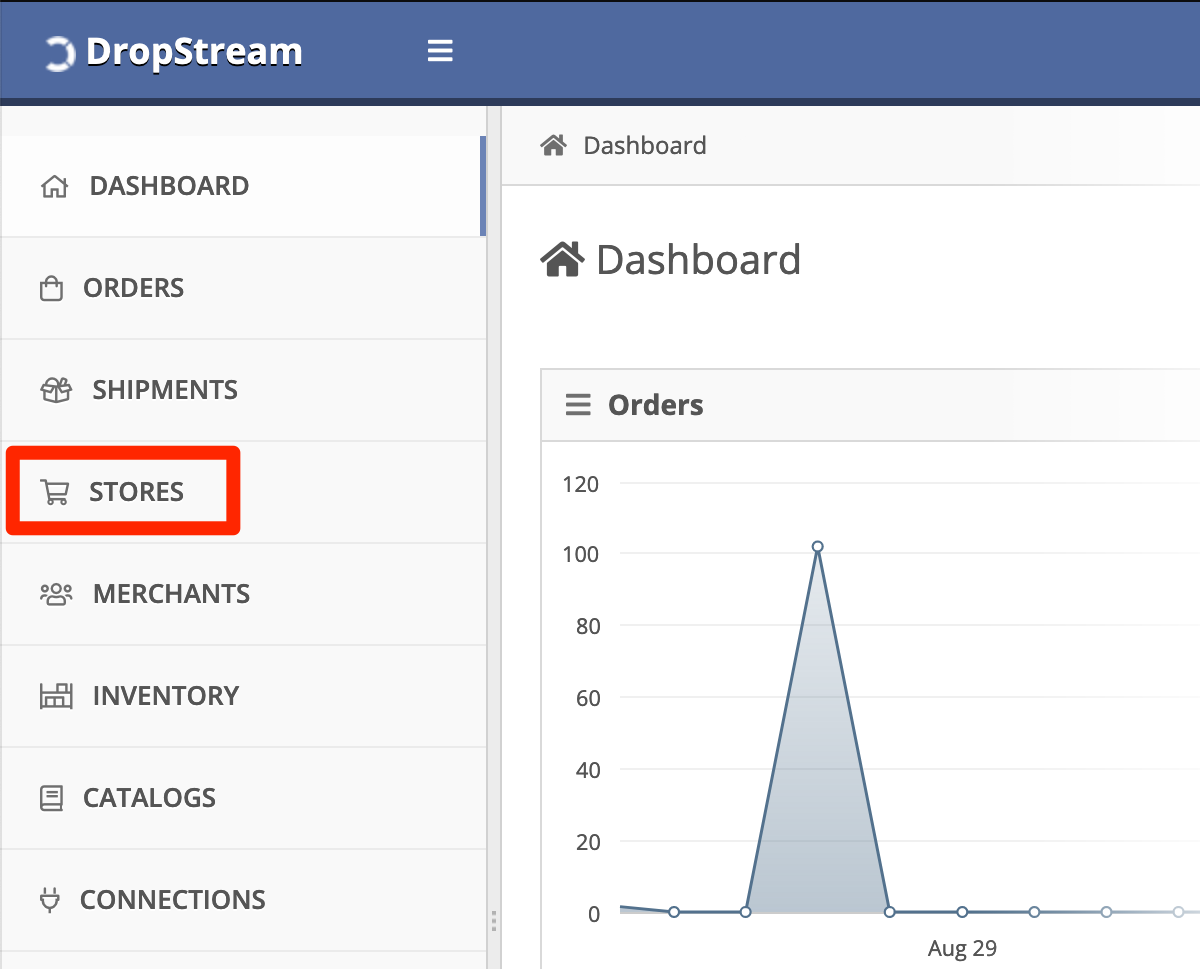 In DropStream Dashboard, click Stores.