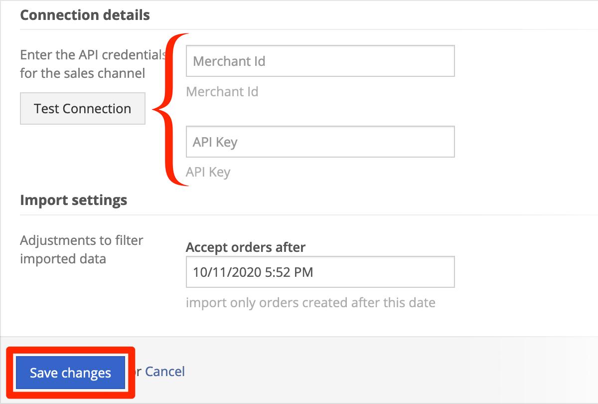 Enter 1ShoppingCart connection details, click Save changes.