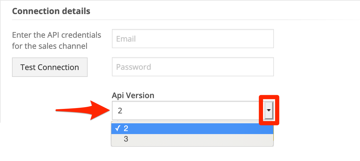 For API version, select 2 or 3. If you're not sure, contact your Ordoro rep.