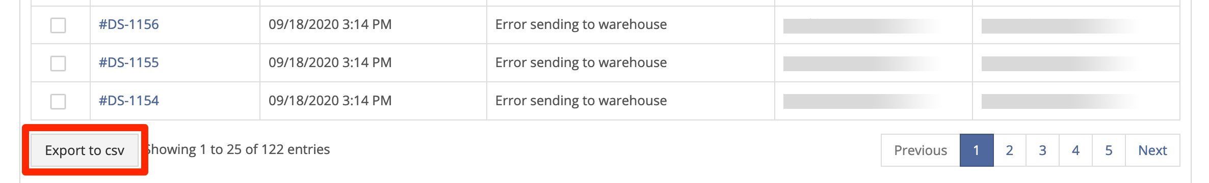 Export orders to CSV