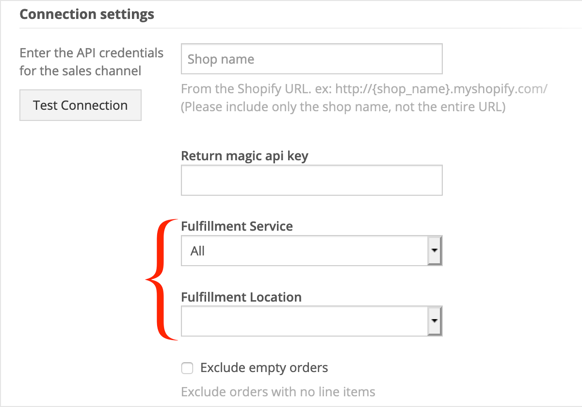 In Connection details, select your Fulfillment Service and Fulfillment Location, then click Save changes.