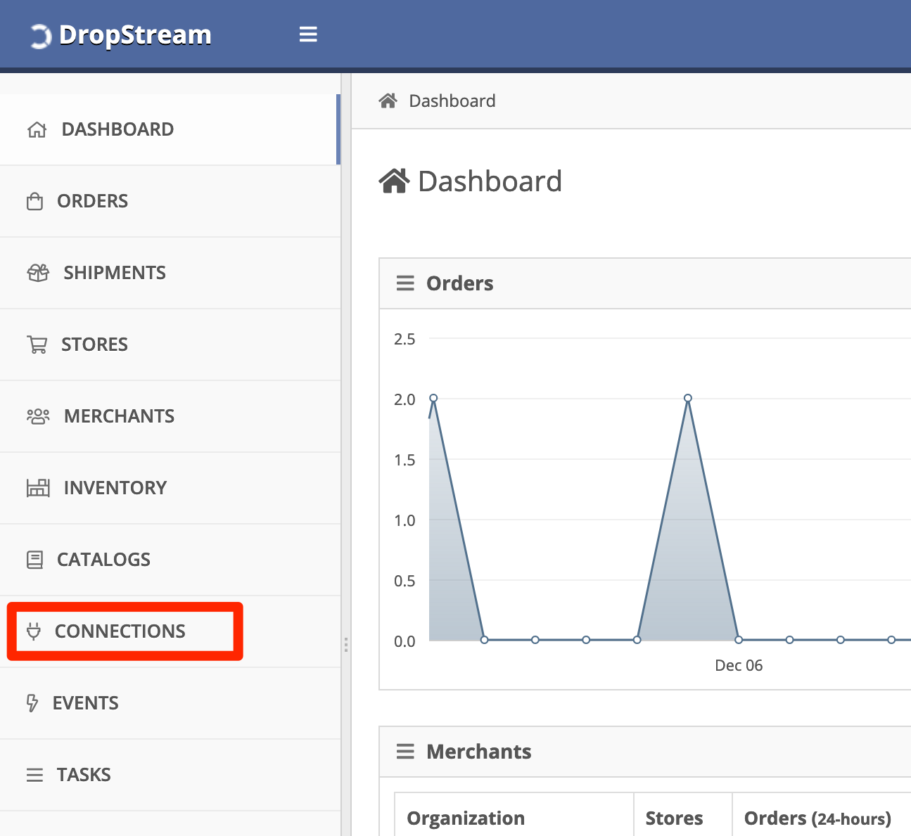 In the DropStream Dashboard, click Connections.