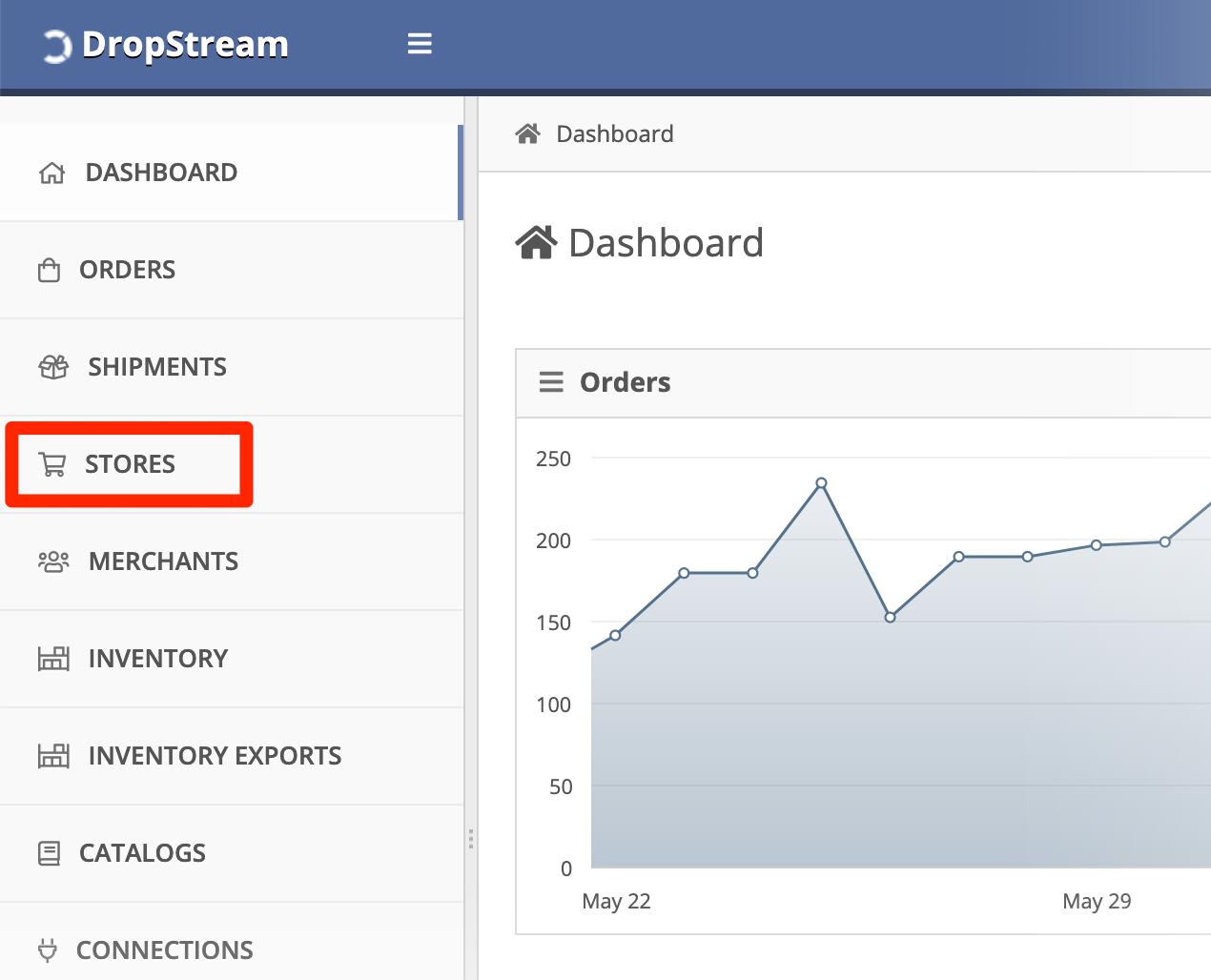 In the DropStream Dashboard, click Store.
