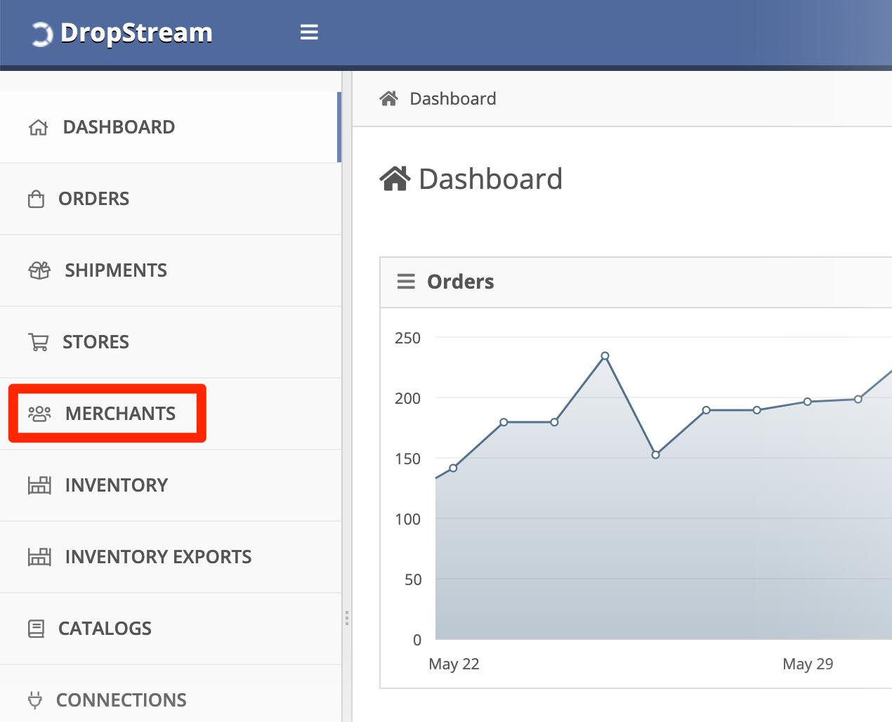 In DropStream Dashboard, click Merchants.